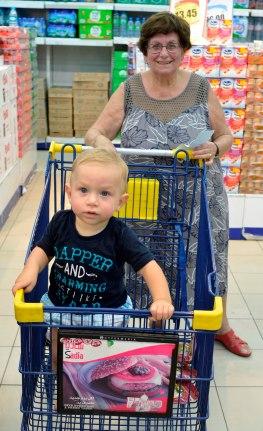 Jiajia Dora with Kingsley doing the weekly shopping at Co-Op, Satwa, Dubai.