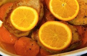 Sweet potatoes, orange, pork casserole - sweet potatoes keep well and cut down on grocery shopping