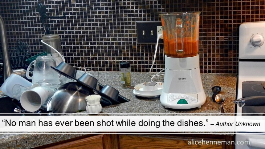 Funny comment about men and dishes: No man has ever been shot while doing the dishes