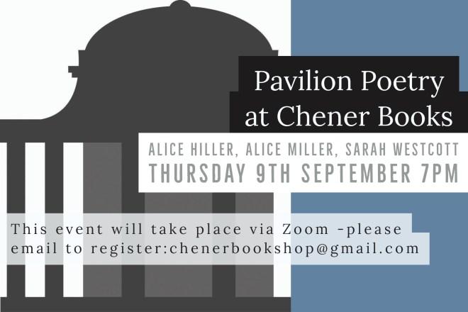 Flyer advertising Chener Books reading on 9 September with Alice Hiller, Alice Miller and Sarah Westcott