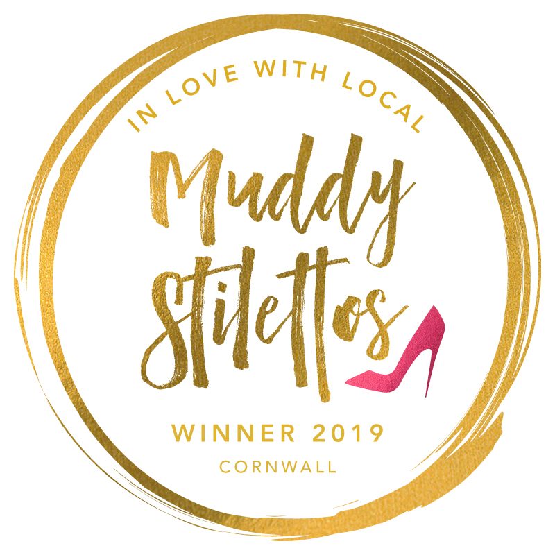 "Muddy Stilettos ""In love with local"" Winner 2019 Cornwall badge."