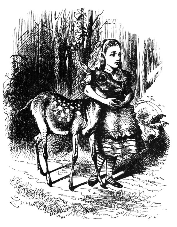 Alice in Wonderland and deer