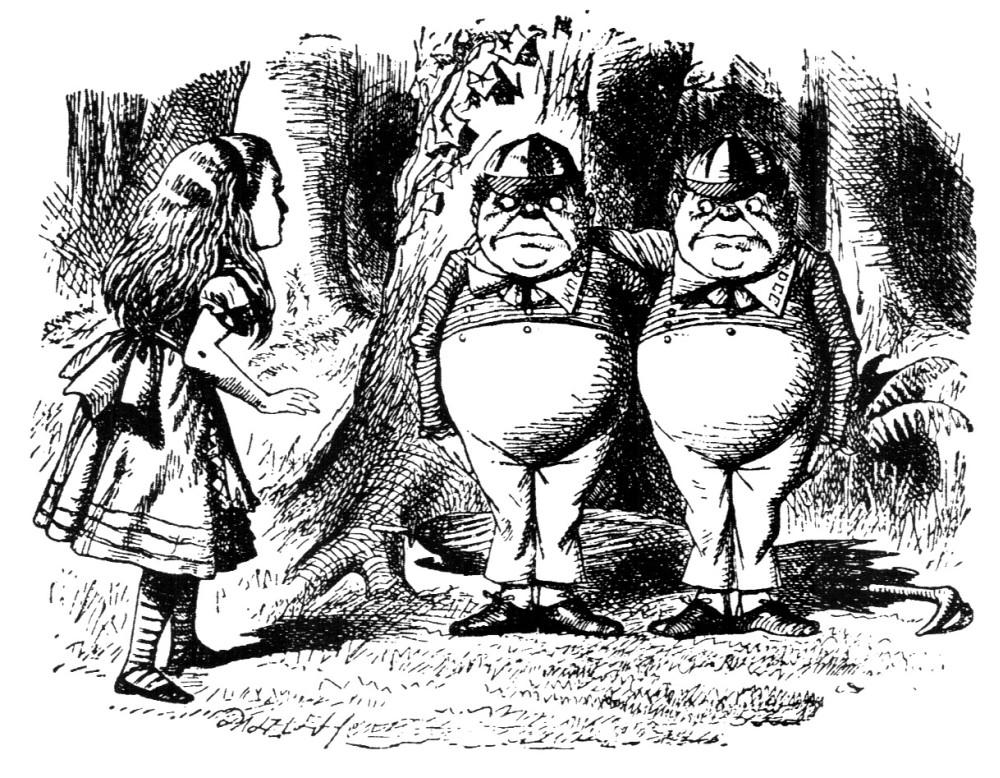 Alice meets Tweedledum and Tweedledee