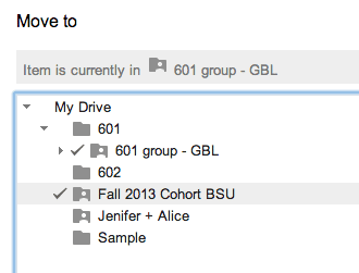 Notice the multiple checkmarks noting the document is in multiple folders.