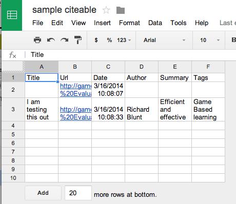 citable spreadsheet