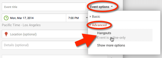 event options advanced