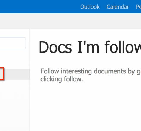 Office 365 O365 Followed Documents