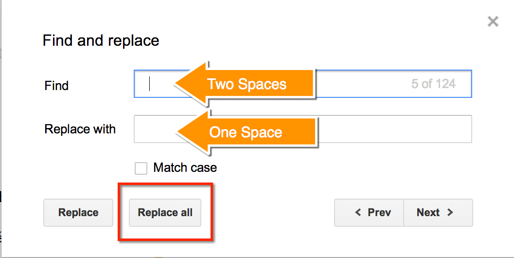 Replace two spaces with one space