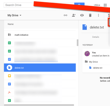 Settings Google Drive