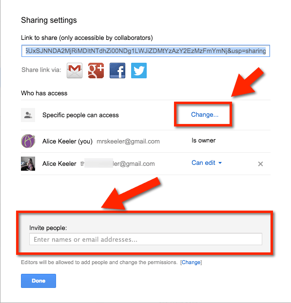 change and share google drive