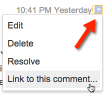 google docs small arrow comments