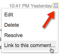 google docs small arrow comments