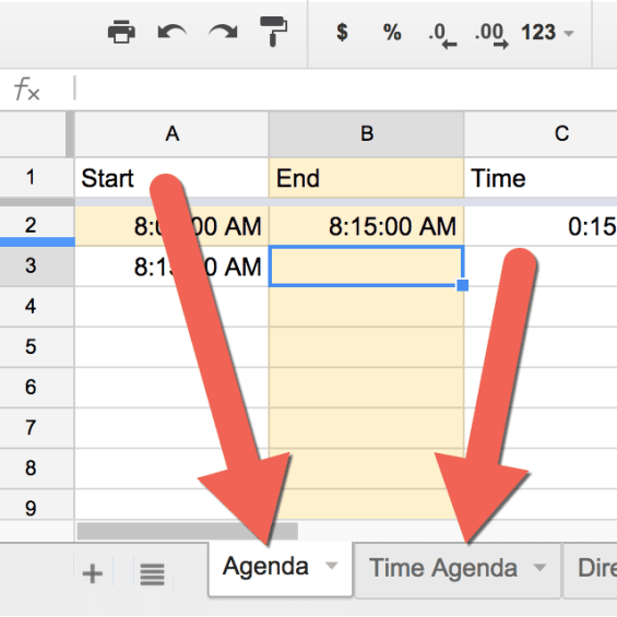 Agenda two tabs