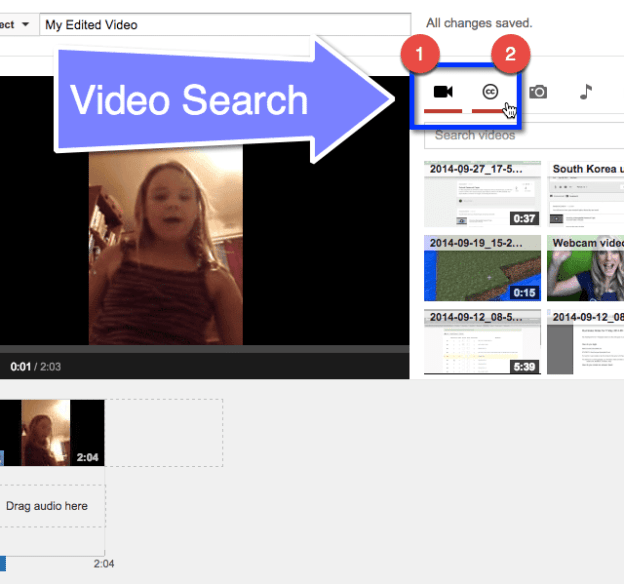 YouTube Video Editor Search Video