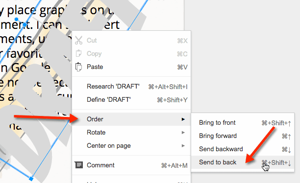 right click choose order and send to back