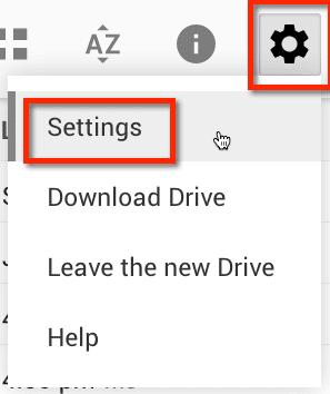 settings in new google drive