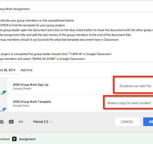 google classroom assign group work