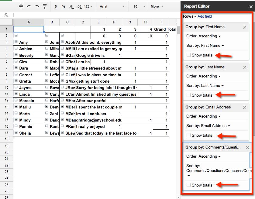 Multiple rows pivot table google sheets