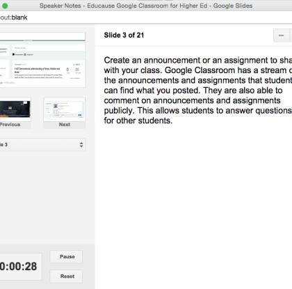 Google Slides Speaker Notes