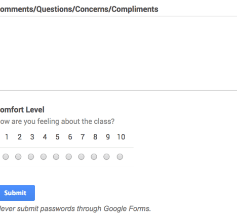 Google Forms Comfort Levell