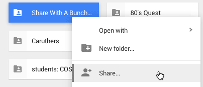 Share right click on google drive folder