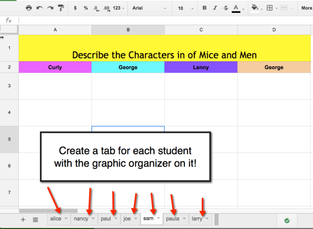 Create a tab for each student