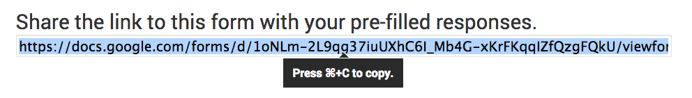 Copy Pre-Filled URL