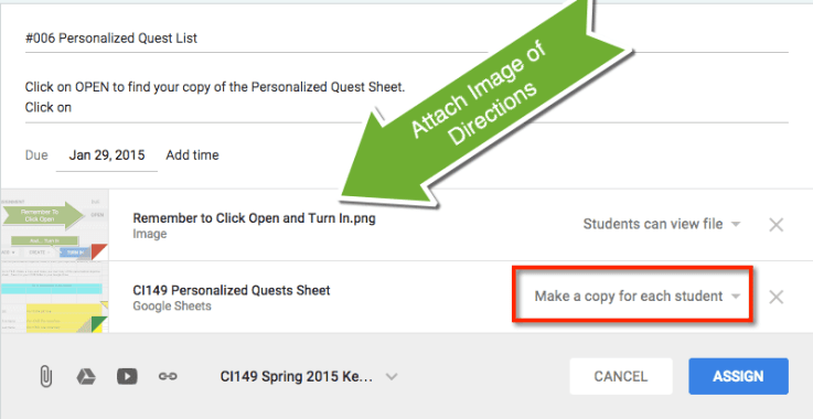attach image of directions google classroom