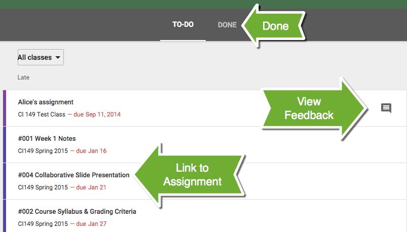 google classroom  assignment list