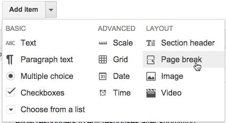 Google Forms add page break