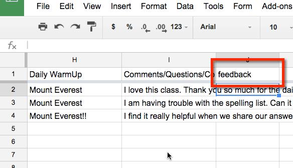 add feedback column