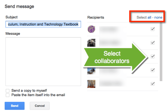 email collaborators message