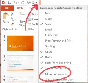 More commands quick access toolbar