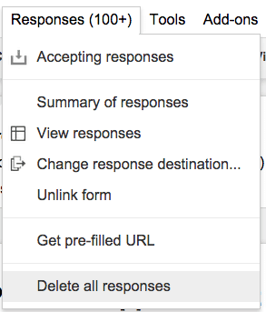Delete all responses google form