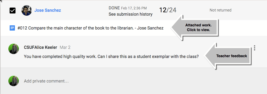 Google CLassroom click on student submission to view the work.