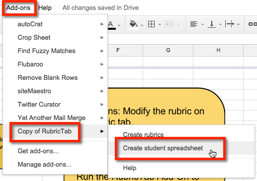 Copy of RubricTab add on and create student spreadsheets