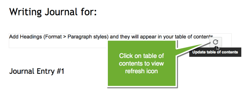 Refresh table of contents icon