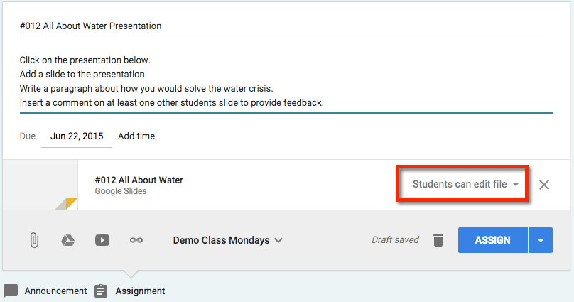 google classroom submitting collaborative google slides teacher tech