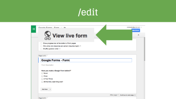 Look for the View Live Form button in Edit Screen