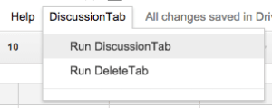 Run DiscussionTab menu