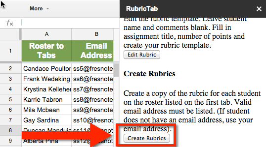 Create Rubrics Button