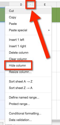 Hide Column