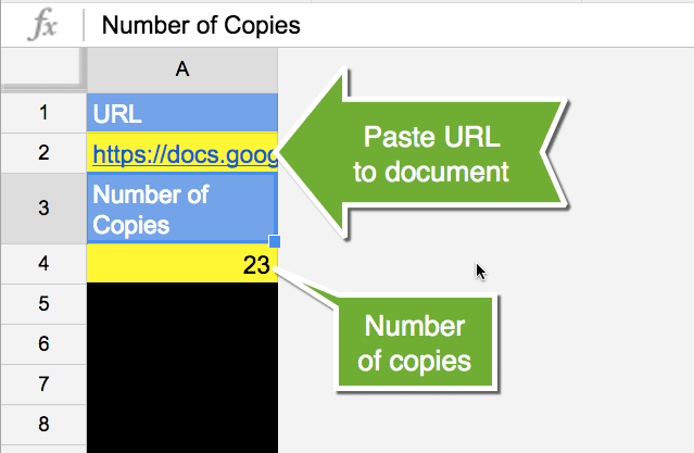 URL and number of copies