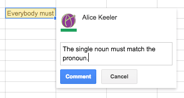 Comment in Google Sheets