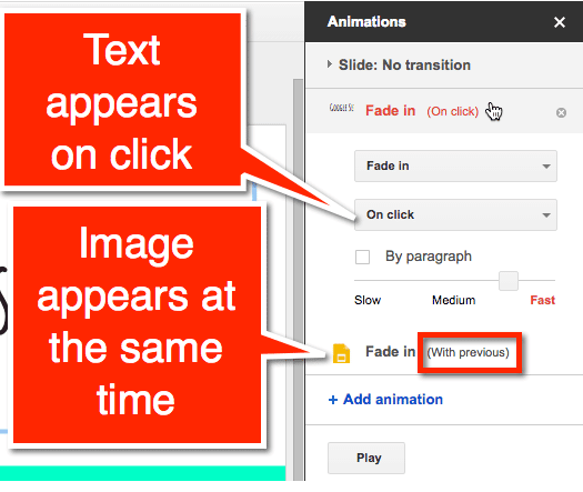 how to add animation to text in google slides