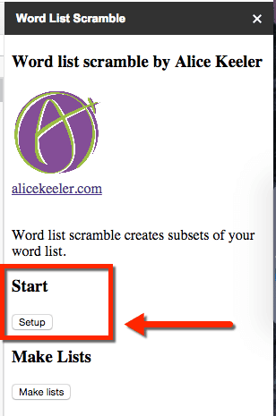 Word list scramble setup
