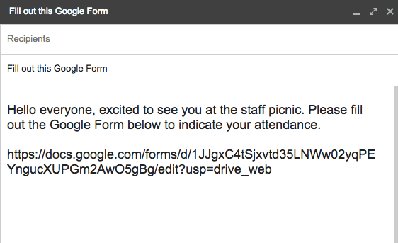 Email with a link