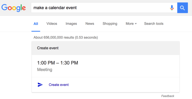 Google make a calendar event