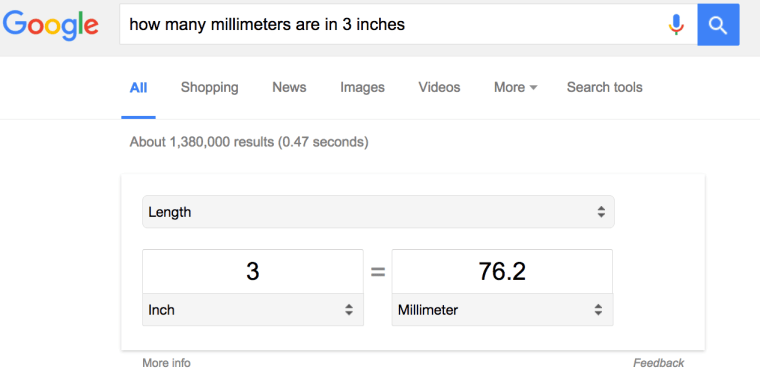 millimeters in 3 inches