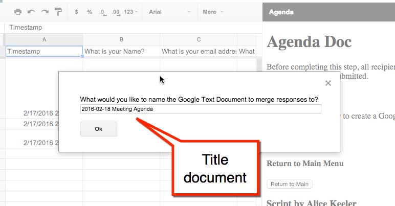 agenda title